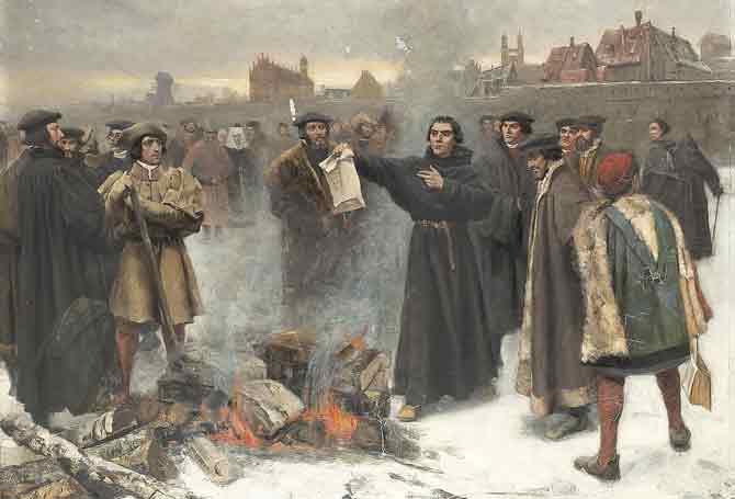 Het merk Luther: Maarten Luther verbrandt de pauselijke bul